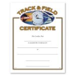 Track and Field Certificate Award Fill in the Blank Certificates