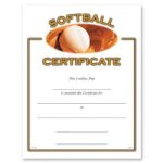 Softball Certificate Award Fill in the Blank Certificates